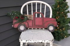 Vintage Pick-up Truck Cutout Sign image 0 Christmas Yard Art, Christmas Truck, Christmas Wood, Christmas Decorations, Christmas Ornaments, Christmas Snowflakes, Christmas Projects, Christmas Stockings, Wood Crafts