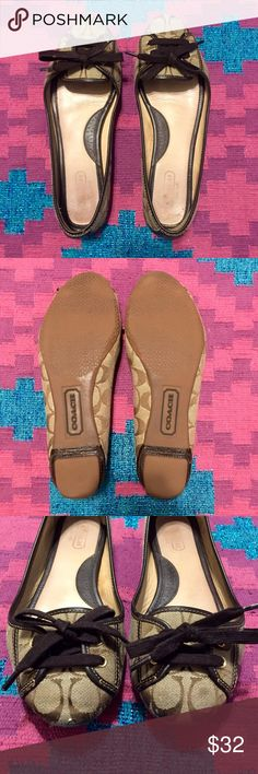 """Coach """"signature C"""" ballet flats Authentic Coach Jayne ballet flats with brown """"signature C"""" design. Great used condition with few signs of wear. Plenty of life left in these cute and comfy shoes! Coach Shoes Flats & Loafers"""