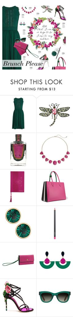 """""""Brunch Please"""" by happilyjynxed on Polyvore featuring Elie Saab, Kenneth Jay Lane, Ted Baker, Prada, Kate Spade, MAC Cosmetics, London Fog, Dolce&Gabbana, TOMS and Obsessive Compulsive Cosmetics"""