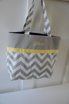 Personalized Embroidered or Monogrammed or Sorority Greek Letter Tote Bag - Grey and White Zigzag Chevron Print - You Choose Ribbon Color. $23.99, via Etsy.