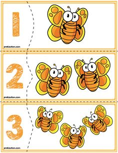 Orange Butterfly Self Correcting Quantity Puzzles Activities For 2 Year Olds, Autism Activities, Montessori Activities, Book Activities, Preschool Forms, Flashcards For Kids, Math Sheets, Lesson Plans For Toddlers, Orange Butterfly