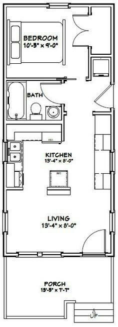 Ft: 447 Building size: wide, deep (including porch) Main roof pitch: Ridge height: 16 Wall height: 9 - Who Else Wants Simple Step-By-Step Plans To Design And Build A Container Home From Scratch? Plan Tiny House, Tiny House Cabin, Tiny House Living, Tiny House Design, Small House Plans, Tiny Houses, Garage Plans, Shed Plans, Br House