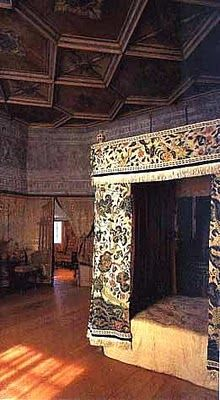 Mary Queen of Scot's Bedroom at Holyrood. Holyrood was so beautiful. We were there days before the queen arrived.