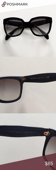 Authentic Prada Sunglasses SPR07 Black with gray gradient. Authentic Prada, no case. Slight knicks at the end. Prada Accessories Sunglasses