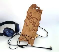 Hand made, laser cut octopus smart phone and tablet stand Tablet Stand, Octopus, Houston, Smartphone, Handmade, Design, Hand Made, Calamari