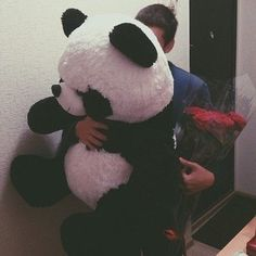 love, panda, and boy image Cute Relationship Goals, Cute Relationships, Giant Teddy Bear, Romantic Gestures, Wattpad, Favim, Happy Valentines Day, Cute Boys, Couple Goals