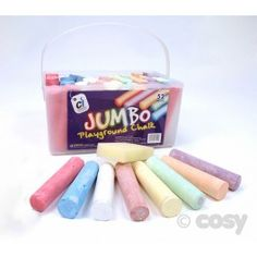 Big chalks for little hands, in an array of colours. Durable and vibrant, these are just the job for all sorts of creative activities, including outdoor murals, pavement painting and much more.