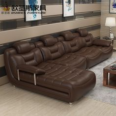 Happy brown cotemporary furniture living room imported italy faux modern sectional leather sofa with stailess steel chrome legs(China) Sectional Sleeper Sofa, Leather Sectional Sofas, Living Room Sectional, Modern Sectional, Sofa Bed, Brown Leather Couch Living Room, Leather Sofa Set, Brown Couch, Sofa Set Designs