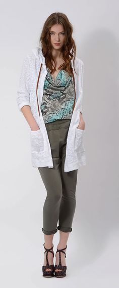 #python #top #white #cotton #cardigan on #fleece #pants for a casual outfit #designed by #danielacolombo