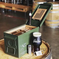 Our favorite veteran made product in the store! A 50 caliber ammo can cigar humidor! Woodworking Plans, Woodworking Projects, Man Cave Diy, Ammo Cans, Cigar Room, Cigar Accessories, Cigars And Whiskey, Decoration, Diy Home Decor