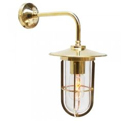 Polished Brass Wall Light, with Vintage bulb
