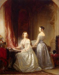 The Romanovs in art. Christina Robertson. Portrait of Grand Duchesses Olga Nikolaevna and Alexandra Nikolaevna. 1840. They  were Emperor Nicholas I's daughters.
