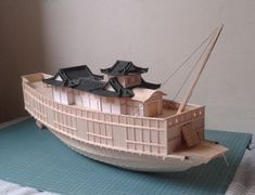 The flagship of Toyotomi Hideyoshi from the invasion of Korea of 1592, made of balsa wood and toothpicks.