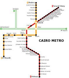 Le #metro du #Caire a été le premier construit en l'Afrique, en 1987. Il a seulement deux lignes opérationnelles et une encore en construction.