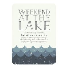 Vintage Waves Lake Weekend Getaway Invitation