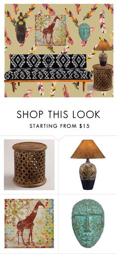 """TRIBAL LIVING ROOM"" by archangelazrael ❤ liked on Polyvore featuring interior, interiors, interior design, home, home decor, interior decorating, Cost Plus World Market, Universal Lighting and Decor, NOVICA and living room"