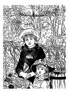 Free Coloring Page Renoir Terasse Terrace Painting Of A Mother