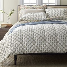 Indira 300-Thread Count Wrinkle-Free Sateen Bedding - Borrowing its inspiration from traditional Indian woodblock motifs, this petite leaf print bedding has a simple yet striking beauty.