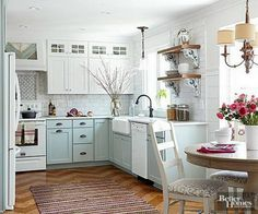 whtie and sea foam kitchen cabinets, small kitchen, throw rug