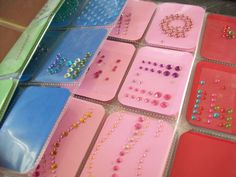 BLING Organization, Scrapbook.com  Mount your bling on coordinating cardstock to make it easy to find, store it in baseball card sleeves in a binder per 950Nancy