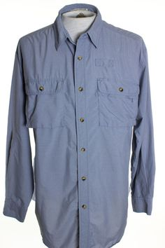 Orvis Mens L Blue Camp Hiking Fishing Vented Long Sleeve Shirt Nylon #Orvis #ButtonFront