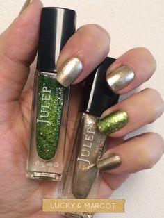 Julep nail polish in green Lucky & gold Margot