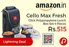 Amazon is offering 8% off on Cello Max Fresh Click Polypropylene Lunch Box Set 4 Pieces at Rs.515 Only. Air tight container that keep food fresh for long, Microwave safe (without lid), Compact lunch box to carry meal, Freezer and dishwasher safe.  http://www.paisebachaoindia.com/cello-max-fresh-click-polypropylene-lunch-box-set-4-pieces-at-rs-515-only-amazon/