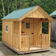 Garden Shed with Porch Cottage Garden Sheds, Garden Shed Kits, Porch Garden, 10x10 Shed Plans, Diy Shed Plans, Storage Shed Plans, Rv Storage, Small Cottage Plans, Small Cabin Plans