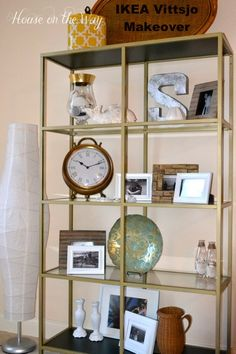 Inspired by @House on the Way use gold spray paint on an IKEA VITTSJÖ shelving unit to add a little glam to your home office.