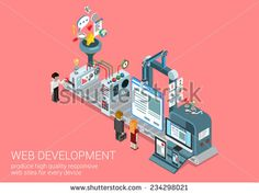 Process web development site production plant concept flat 3d isometric icon collage composition template. Conveyor transporter website responsive interface creation. Vector web banner illustration. - stock vector