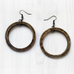 Rustic Wooden Hoops -Simple Wood Hoop Earrings Minimal Earrings Small Hoop Earrings Laser Cut Jewelry Rustic Boho Chic Hoop Earrings