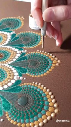 Dot Art Painting, Rock Painting Designs, Mandala Painting, Mandala Drawing, Painting With Dots, Mandala Canvas, Mandala Art Therapy, Mandala Art Lesson, Large Canvas Wall Art