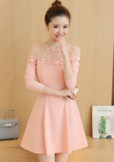 Buy Lace Mesh Neck Fit & Flare Dress | mysallyfashion.com Malaysia
