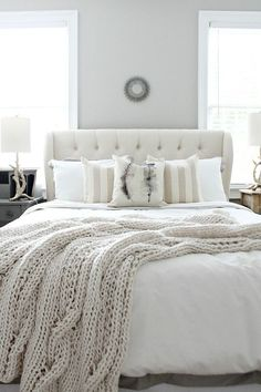 White bedroom furniture ideas grey guest bedroom ideas bhgs best home decor inspiration bedroom guest bedrooms bedroom decor homebnc guest bedroom ideas Farmhouse Style Bedrooms, Farmhouse Master Bedroom, Hamptons Style Bedrooms, White Rooms, Cozy White Bedroom, Scandinavian Bedroom, Cream And White Bedroom, Light Gray Bedroom, White Walls