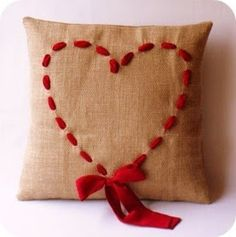 Sweet heart pillow  Maybe tie the bow on top so it hangs in the middle if the heart...