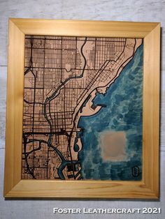 Client liked his first map of his favorite Milwaukee drinking spots so much he ordered a second one for a relation Leather Craft, Milwaukee, The Fosters, Drinking, Map, Products, Leather Crafts, Beverage, Drink