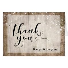 Rustic Pale Brown Wood & White Lights Thank You Card - country wedding gifts marriage love couples diy customize