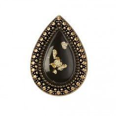 BOHEMIAN BARDOT RING-BLACK GOLD LEAF/GOLD