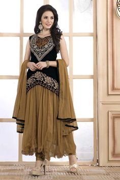 Cream Net Anarkali Suit