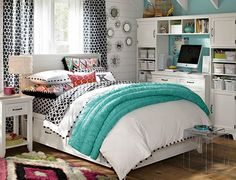 Young girl or teenage girl room.  Not sure about the black and white pattern there but love other elements of this look.
