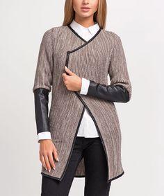 This Cappuccino Melange & Black Contrast-Trim Jacket is perfect! #zulilyfinds