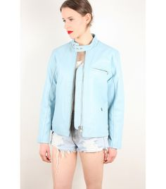 Levi's Vintage Sky Blue Leather Moto Jacket, S - WST