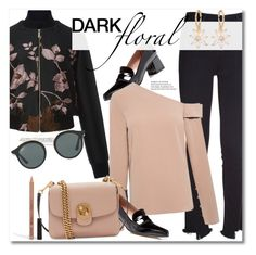 """""""Dark Floral winter"""" by vkmd ❤ liked on Polyvore featuring J Brand, Elie Saab, NYX, Tabitha Simmons, TIBI, Chloé, Ray-Ban and darkflorals"""