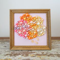 Cloud Picture - Mosaic art - Pink Cloud - Glitter Picture - 3d Wall Hanging - Framed Art - Gold Pink Nursery Art - Rain Picture - Pearl Art by berryisland on Etsy