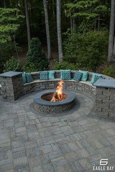 Concrete Paver Patio, Concrete Patio Designs, Backyard Patio Designs, Firepit Glass, Small Backyard Design, Diy Patio, Fire Pit Seating, Fire Pit Area, Backyard Seating