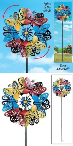 Windmills And Wind Spinners 115772: Metal Wind Spinner Outdoor Lawn Decor  Garden Stake Kaleidoscope Spinning