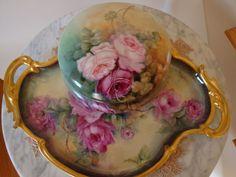Antique Limoges France Hand Painted Dresser Box Powder Box 19th Century Gorgeous Roses
