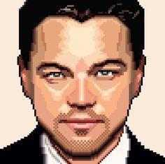 Pixel art (Leonardo DiCaprio) by Ondrej Hruby Pixel Art Background, Pixel Characters, 8 Bit Art, Isometric Art, Pixel Art Games, Marilyn Monroe Art, Leonardo Dicaprio, Star Wars Art, Famous Faces