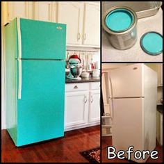 Dollar Store Crafter: DIY Painted Refrigerator With Regular Wall Paint Refrigerator Makeover, Paint Refrigerator, Painted Fridge, Painted Appliances, Shabby Chic Kitchen, Vintage Kitchen, Staff Lounge, Teacher Lounge, Welcome To My House