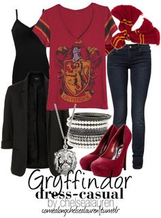 Gryffindor- you know I have to have a Harry Potter outfit. I would switch the shoes though. Harry Potter Mode, Harry Potter Style, Harry Potter Outfits, Harry Potter Universal, Casual Cosplay, Cosplay Outfits, Harry Potter Kleidung, Fandom Fashion, Women's Fashion